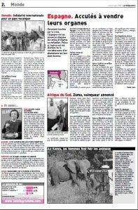Ventes d'organes_Le Télégramme_Mai 2009