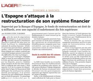 L'Espagne s'attaque à la restructuration_L'Agefi_29 juin 2009