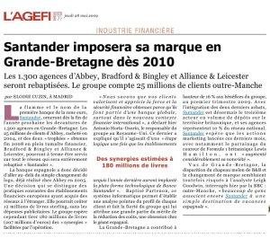 Santander imposera sa marque_L'Agefi_28mai2009