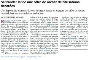 Santander_Titrisations décotées_L'Agefi_25août 2009