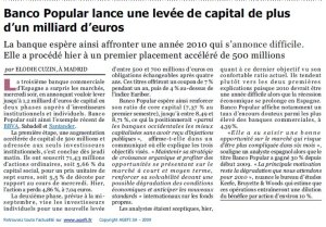 Banco Popular_Augmentation de capital_L'Agefi_11 septemre 2009
