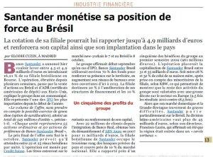 Santander monétise sa position au Brésil_L'Agefi_21septembre2009