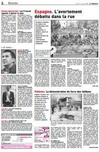 Avortement_Le Télégramme_Octobre 2009