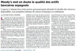 Moody's_Banques espagnoles_L'Agefi_15 octobre 2009