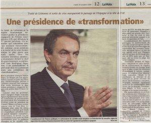 Une présidence de transformation_La Voix du Luxembourg_20 octobre 2009