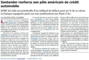 Santander_HSBC_Crédit automobile_L'Agefi_12 novembre 2009
